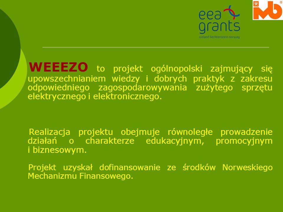 WEEEZO to projekt ogólnopolski zajmujący się upowszechnianiem wiedzy i dobrych praktyk z zakresu odpowiedniego zagospodarowywania zużytego sprzętu ele