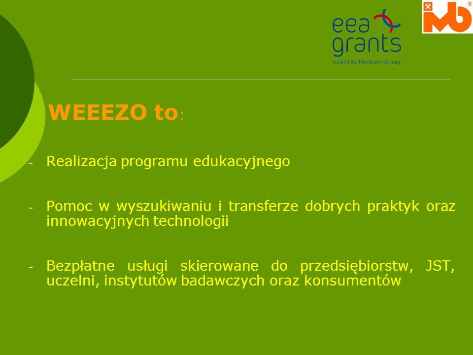 WEEEZO to : - Realizacja programu edukacyjnego - Pomoc w wyszukiwaniu i transferze dobrych praktyk oraz innowacyjnych technologii - Bezpłatne usługi s