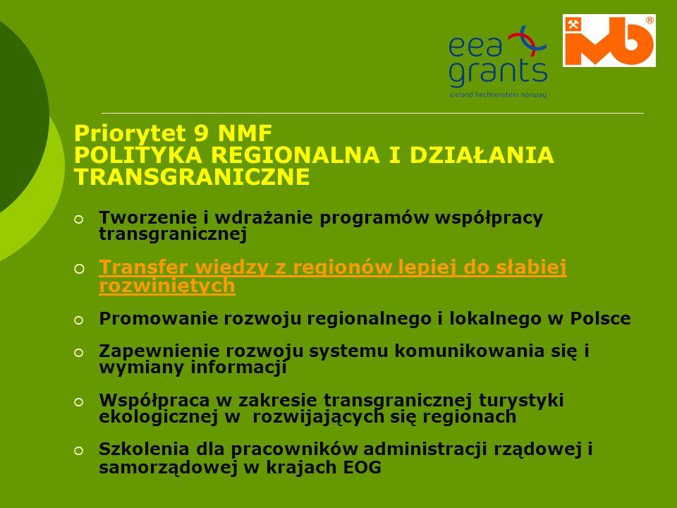 Priorytet 9 NMF POLITYKA REGIONALNA I DZIAŁANIA TRANSGRANICZNE Tworzenie i wdrażanie programów współpracy transgranicznej Transfer wiedzy z regionów l