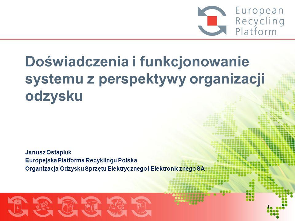 1 Doświadczenia i funkcjonowanie systemu z perspektywy organizacji odzysku Janusz Ostapiuk Europejska Platforma Recyklingu Polska Organizacja Odzysku