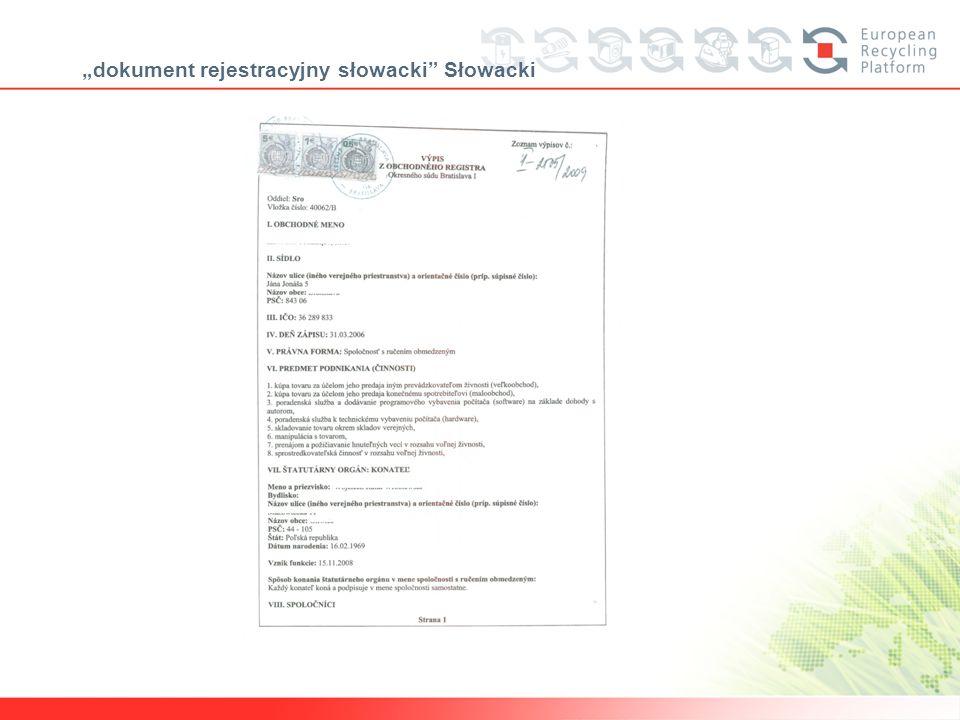 dokument rejestracyjny słowacki Słowacki