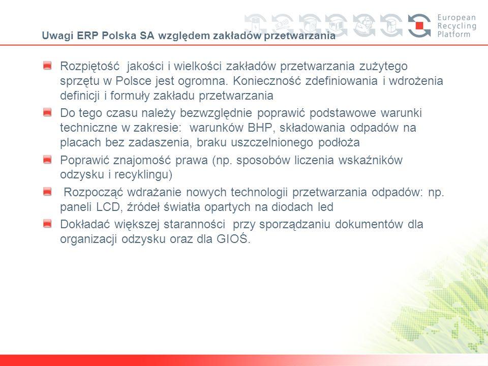 Uwagi ERP Polska SA względem zakładów przetwarzania Rozpiętość jakości i wielkości zakładów przetwarzania zużytego sprzętu w Polsce jest ogromna. Koni
