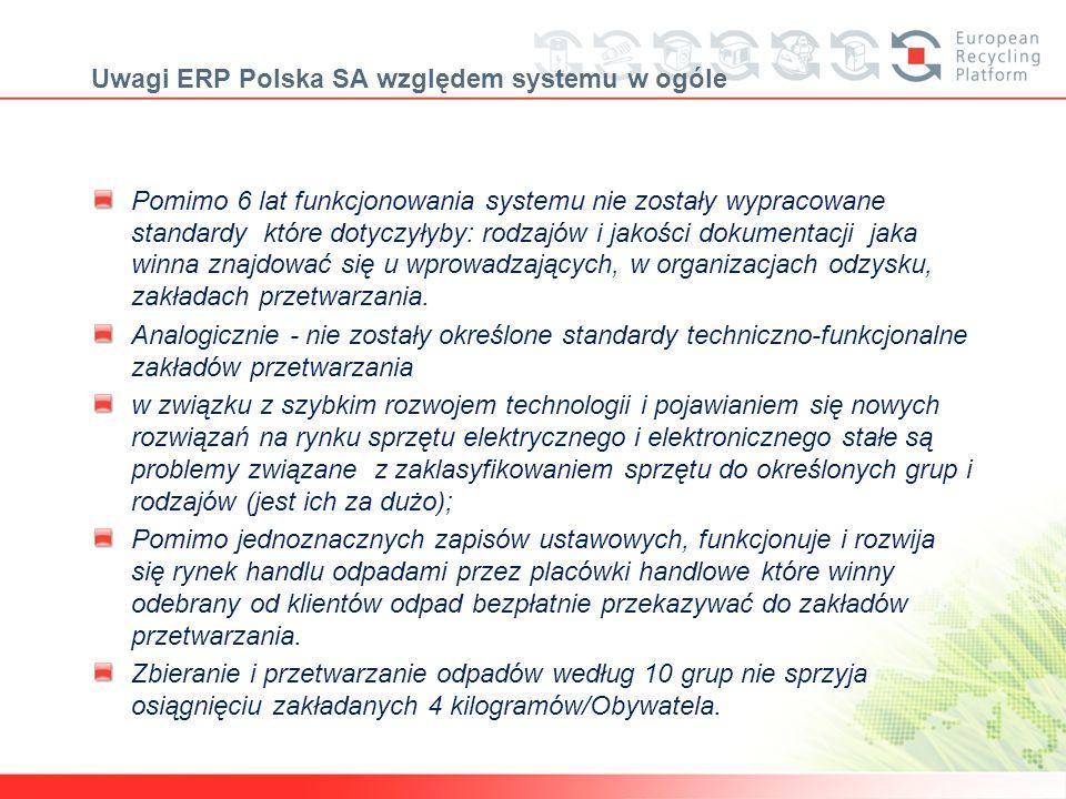Uwagi ERP Polska SA względem systemu w ogóle Pomimo 6 lat funkcjonowania systemu nie zostały wypracowane standardy które dotyczyłyby: rodzajów i jakoś