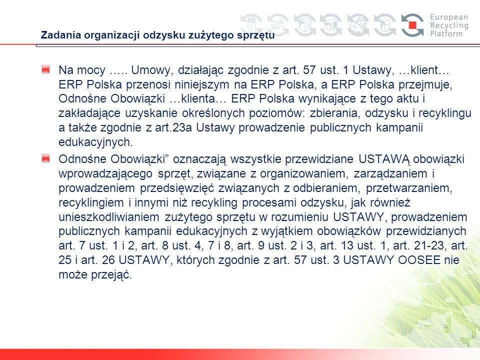 Zadania organizacji odzysku zużytego sprzętu Na mocy ….. Umowy, działając zgodnie z art. 57 ust. 1 Ustawy, …klient… ERP Polska przenosi niniejszym na