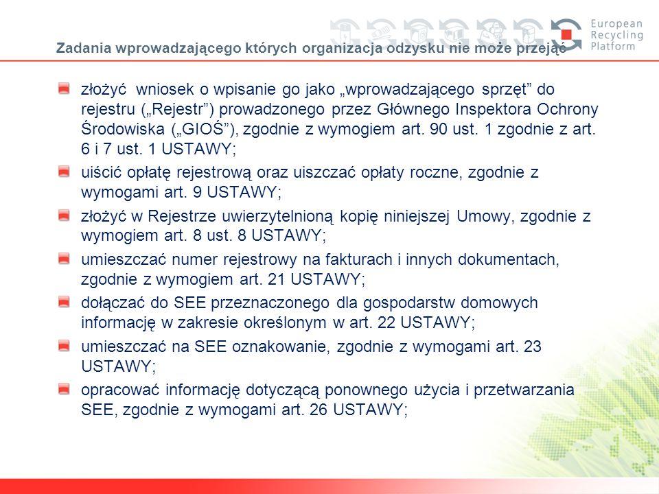 uwagi ERP Polska SA względem wprowadzających polskich słabiutka wiedza producentów/importerów/przedsiębiorców odnośnie obowiązków wynikających z ustawy o zużytym sprzęcie elektrycznym i elektronicznym, wyrażająca się w: problemach z właściwym wypełnieniem wniosku do GIOŚ problemach w zakwalifikowaniu sprzętu do właściwego przedziału kompletnym myleniu pojęć: odzysk, recykling, kgo, trudnościach z określeniem terminu wprowadzenia sprzętu na rynek niejasnościach dotyczących reeksportu handlu odpadami a ponad wszystko traktowanie ceny jako podstawowego elementu przy doborze partnerów (organizacji odzysku) do współpracy