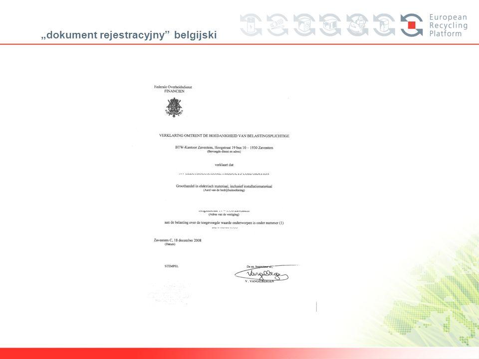 dokument rejestracyjny belgijski