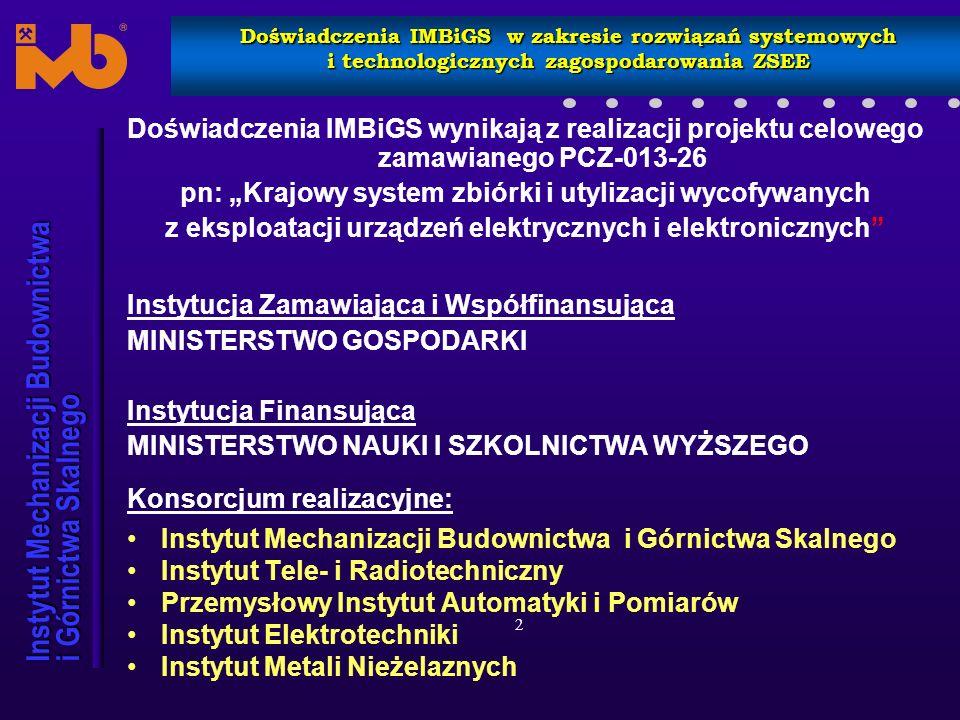 Instytut Mechanizacji Budownictwa i Górnictwa Skalnego Doświadczenia IMBiGS w zakresie rozwiązań systemowych i technologicznych zagospodarowania ZSEE Urządzenie rozdrabniająco – separujące (RECYKLOP)