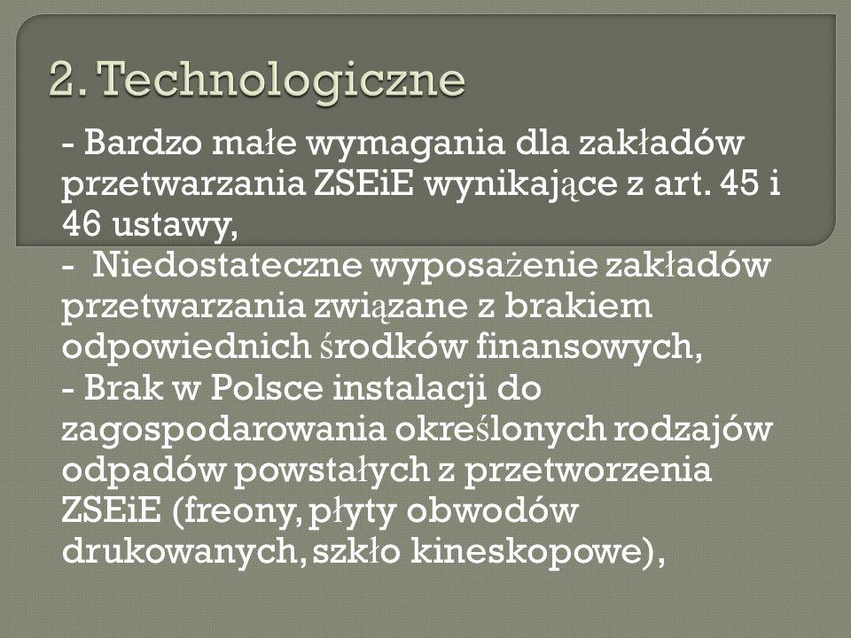 - Niski poziom ś wiadomo ś ci w Polsce co do selektywnego ZSEiE (s ł abo funkcjonuj ą ca edukacja ekologiczna), - Bardzo silnie uregulowany rynek gospodarki z ł omem w Polsce, co przek ł ada si ę na problemy w recyklingu odpadów powsta ł ych z przetworzenia ZSEiE, - Bardzo niski poziom wykorzystywania zu ż ytego sprz ę tu i cz ęś ci do ponownego u ż ycia.