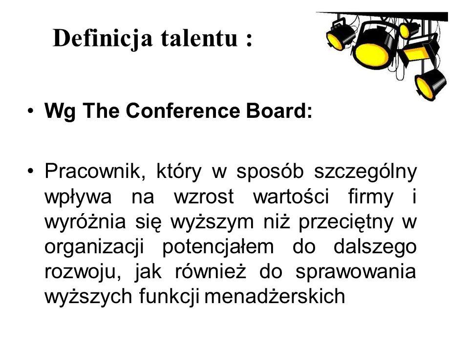 Definicja talentu : Wg The Conference Board: Pracownik, który w sposób szczególny wpływa na wzrost wartości firmy i wyróżnia się wyższym niż przeciętn