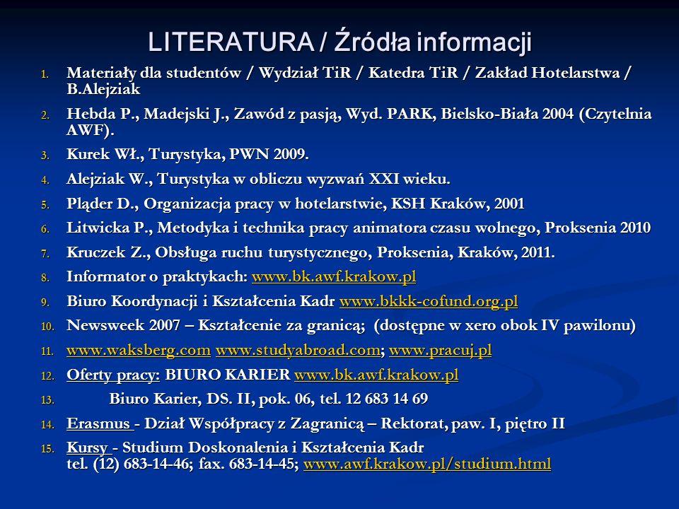LITERATURA / Źródła informacji 1. Materiały dla studentów / Wydział TiR / Katedra TiR / Zakład Hotelarstwa / B.Alejziak 2. Hebda P., Madejski J., Zawó