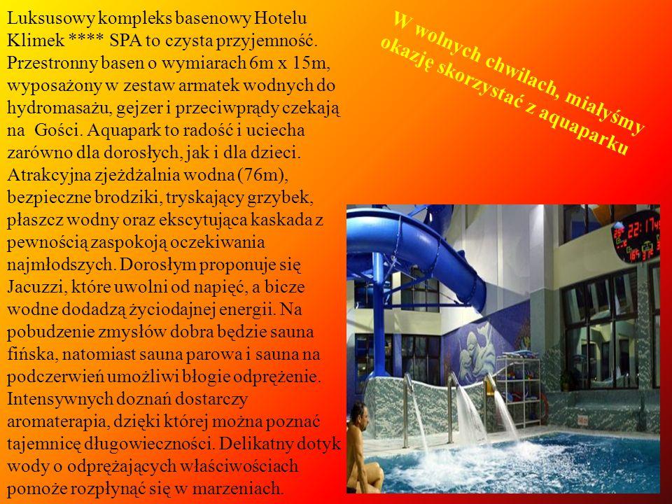 Luksusowy kompleks basenowy Hotelu Klimek **** SPA to czysta przyjemność. Przestronny basen o wymiarach 6m x 15m, wyposażony w zestaw armatek wodnych