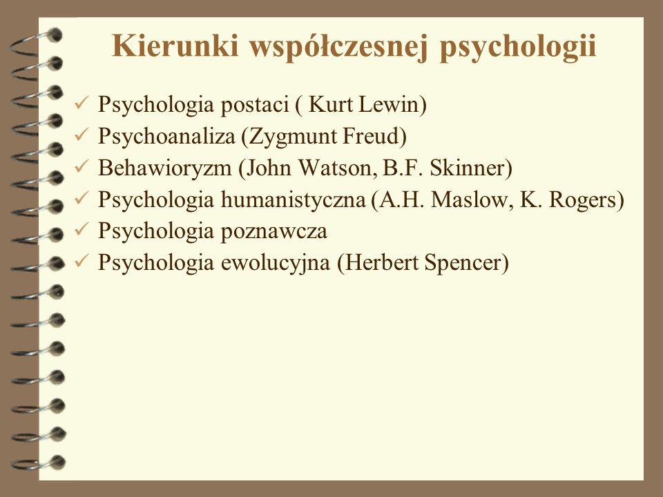 6 Kierunki współczesnej psychologii Psychologia postaci ( Kurt Lewin) Psychoanaliza (Zygmunt Freud) Behawioryzm (John Watson, B.F. Skinner) Psychologi