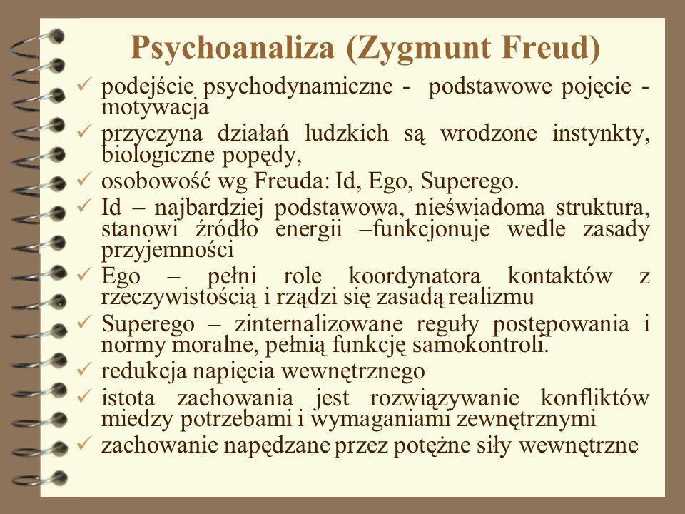 7 Psychoanaliza (Zygmunt Freud) podejście psychodynamiczne - podstawowe pojęcie - motywacja przyczyna działań ludzkich są wrodzone instynkty, biologic