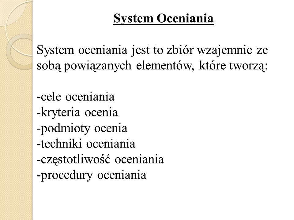 System Oceniania System oceniania jest to zbiór wzajemnie ze sobą powiązanych elementów, które tworzą: -cele oceniania -kryteria ocenia -podmioty ocen