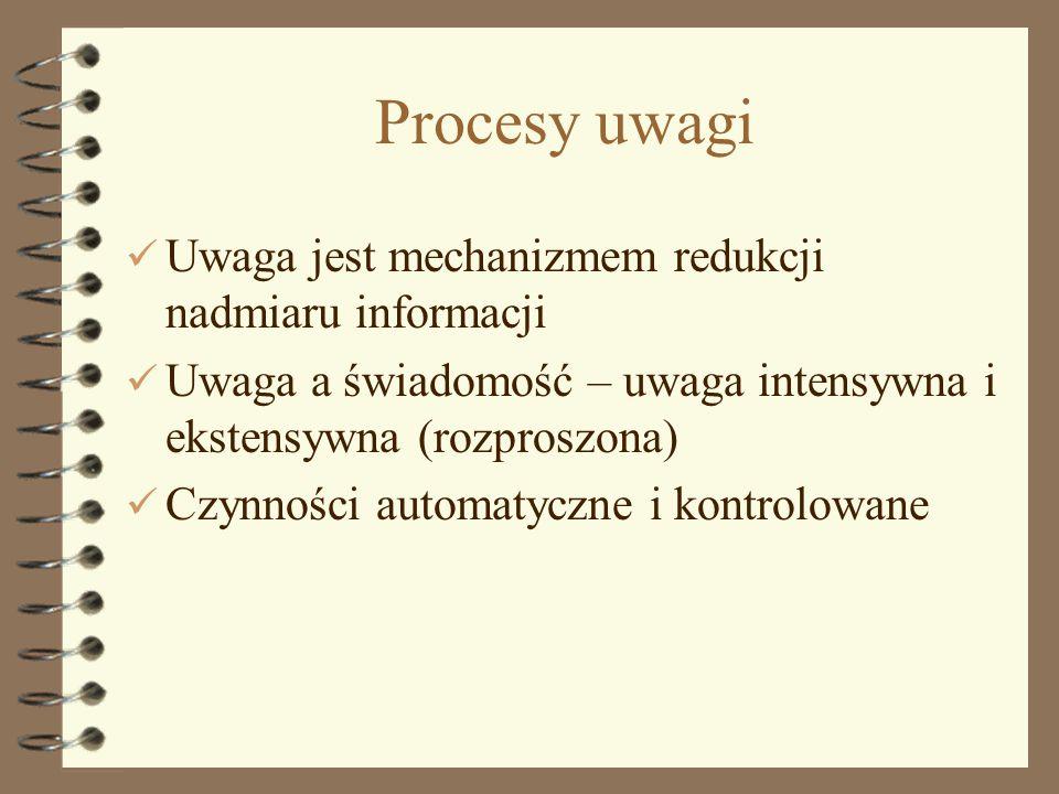 1 Procesy uwagi Uwaga jest mechanizmem redukcji nadmiaru informacji Uwaga a świadomość – uwaga intensywna i ekstensywna (rozproszona) Czynności automa