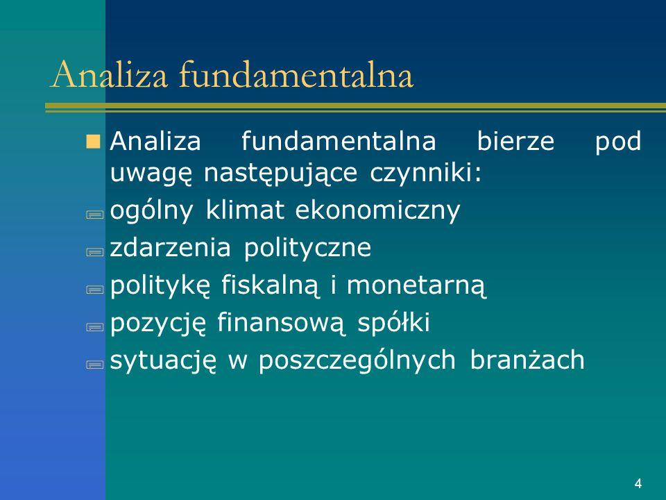 4 Analiza fundamentalna Analiza fundamentalna bierze pod uwagę następujące czynniki: ogólny klimat ekonomiczny zdarzenia polityczne politykę fiskalną i monetarną pozycję finansową spółki sytuację w poszczególnych branżach