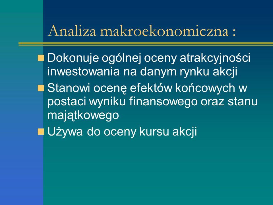 Analiza makroekonomiczna : Dokonuje ogólnej oceny atrakcyjności inwestowania na danym rynku akcji Stanowi ocenę efektów końcowych w postaci wyniku finansowego oraz stanu majątkowego Używa do oceny kursu akcji