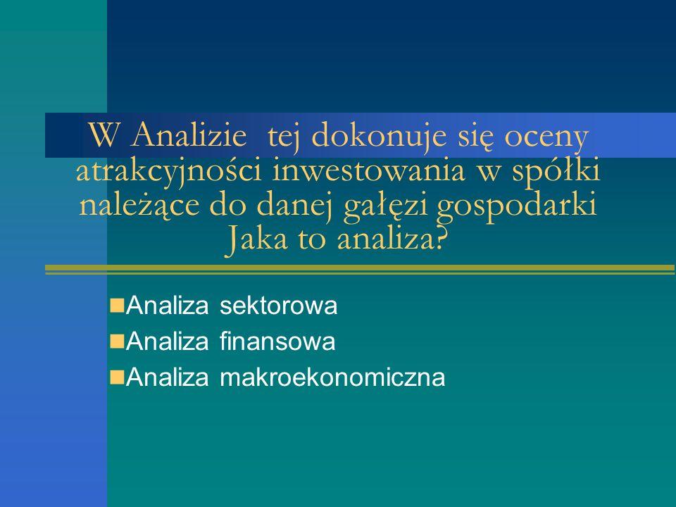 W Analizie tej dokonuje się oceny atrakcyjności inwestowania w spółki należące do danej gałęzi gospodarki Jaka to analiza.