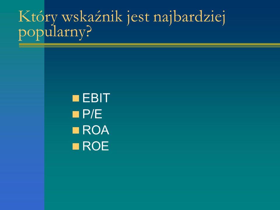 Który wskaźnik jest najbardziej popularny EBIT P/E ROA ROE
