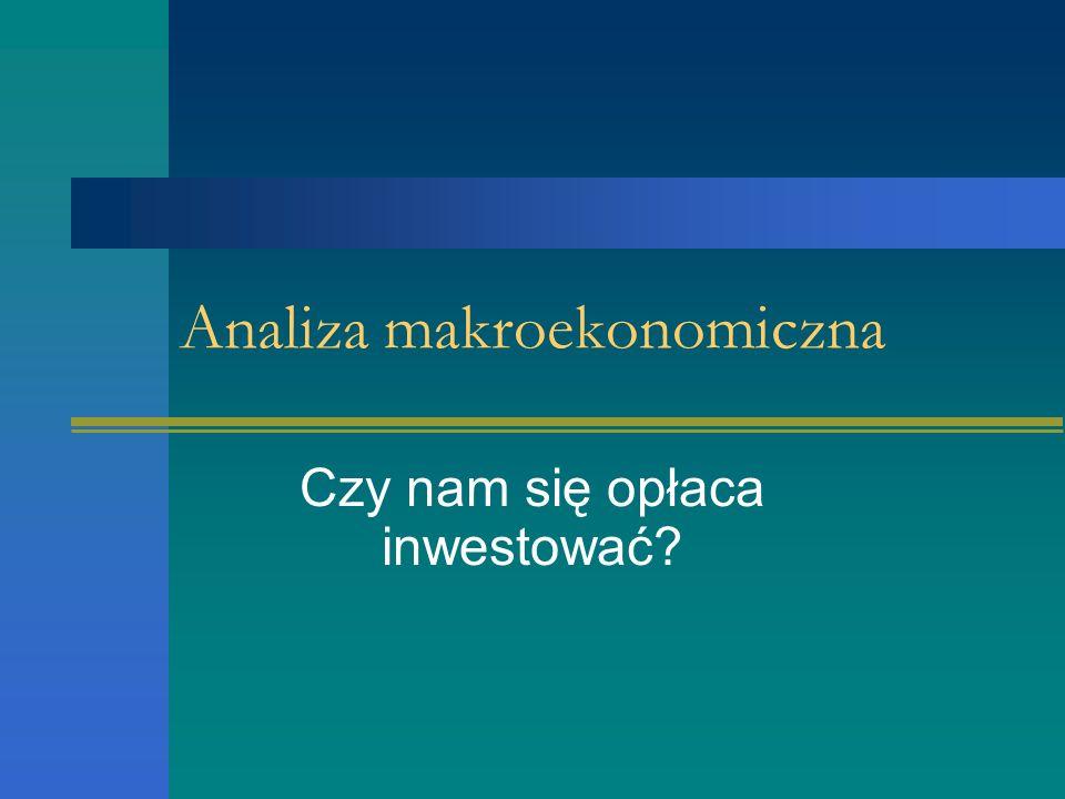 Analiza makroekonomiczna Powinna uwzględniać stan oraz wahania koniunktury gospodarczej W analizie makroekonomicznej dokonuje się ogólnej oceny atrakcyjności inwestowania na danym rynku akcji.
