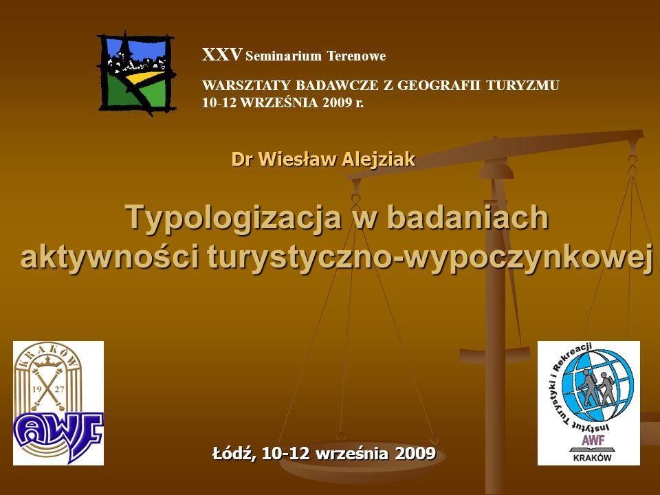 Typologizacja w badaniach aktywności turystyczno-wypoczynkowej Dr Wiesław Alejziak Łódź, 10-12 września 2009 XXV Seminarium Terenowe WARSZTATY BADAWCZ