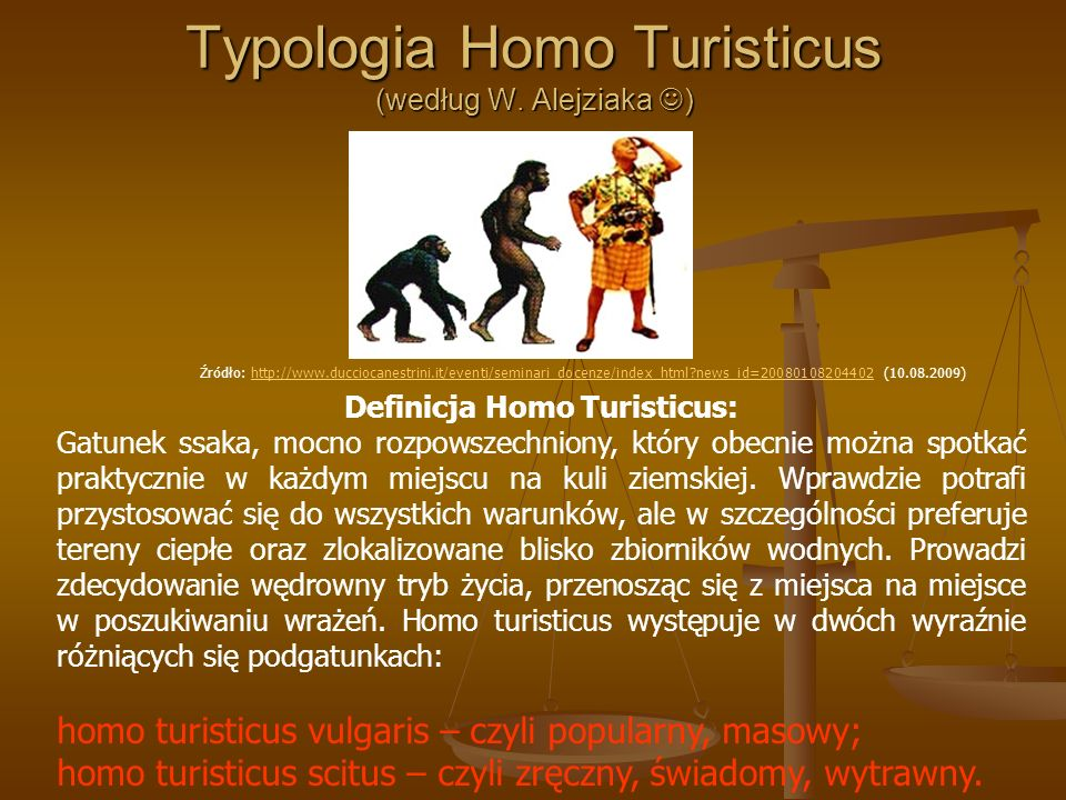 Typologia Homo Turisticus (według W. Alejziaka ) Definicja Homo Turisticus: Gatunek ssaka, mocno rozpowszechniony, który obecnie można spotkać praktyc