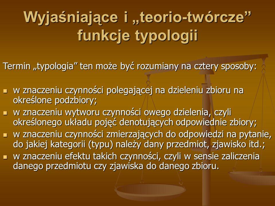 Wyjaśniające i teorio-twórcze funkcje typologii Termin typologia ten może być rozumiany na cztery sposoby: w znaczeniu czynności polegającej na dziele