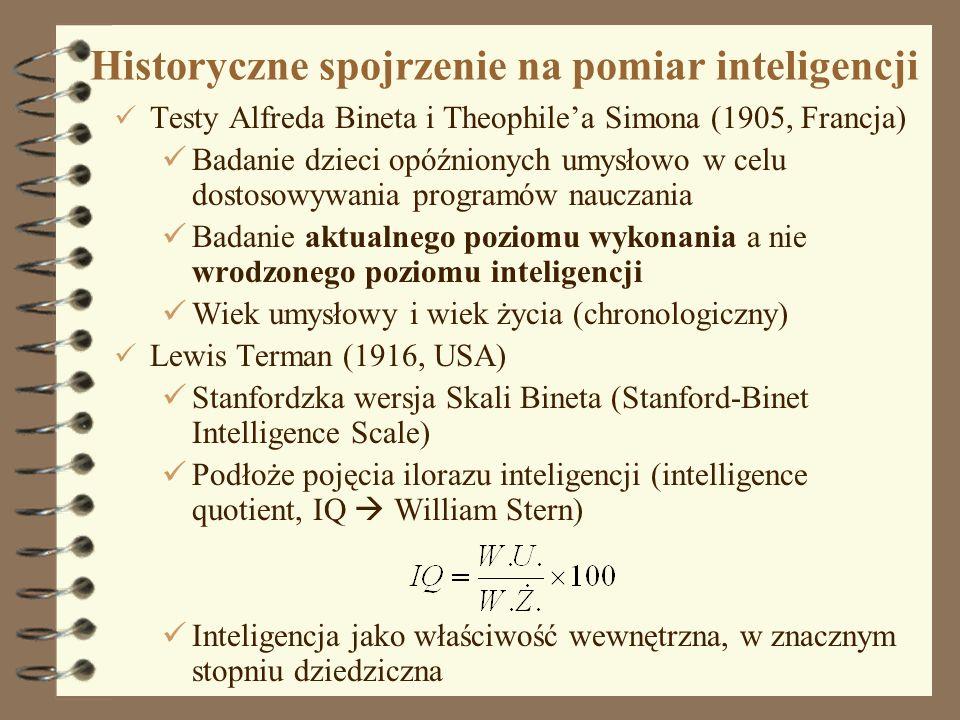 2 Historyczne spojrzenie na pomiar inteligencji Testy Alfreda Bineta i Theophilea Simona (1905, Francja) Badanie dzieci opóźnionych umysłowo w celu do