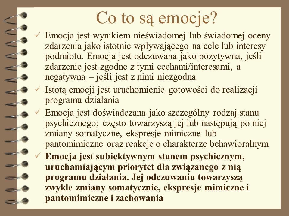1 Co to są emocje? Emocja jest wynikiem nieświadomej lub świadomej oceny zdarzenia jako istotnie wpływającego na cele lub interesy podmiotu. Emocja je