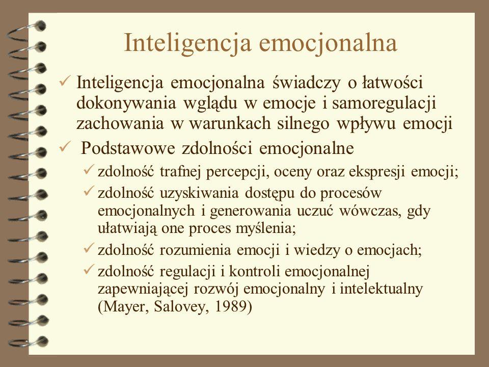 10 Inteligencja emocjonalna Inteligencja emocjonalna świadczy o łatwości dokonywania wglądu w emocje i samoregulacji zachowania w warunkach silnego wp