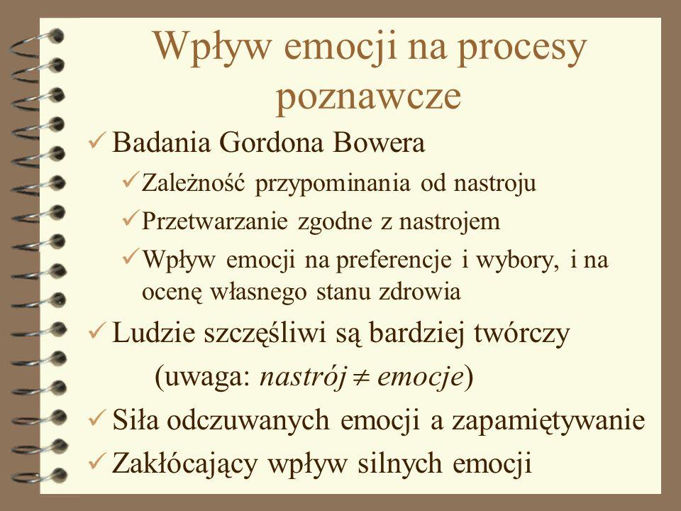 8 Wpływ emocji na procesy poznawcze Badania Gordona Bowera Zależność przypominania od nastroju Przetwarzanie zgodne z nastrojem Wpływ emocji na prefer