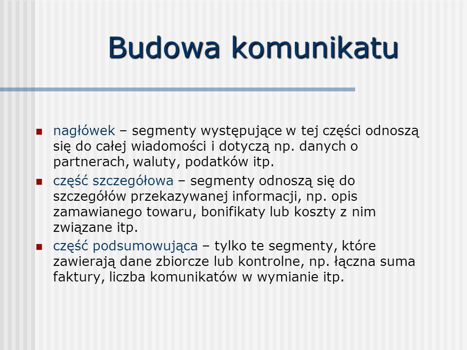Budowa komunikatu nagłówek – segmenty występujące w tej części odnoszą się do całej wiadomości i dotyczą np.