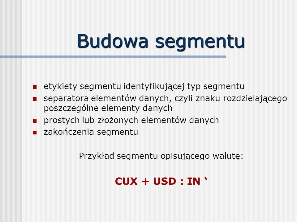 Budowa segmentu etykiety segmentu identyfikującej typ segmentu separatora elementów danych, czyli znaku rozdzielającego poszczególne elementy danych prostych lub złożonych elementów danych zakończenia segmentu Przykład segmentu opisującego walutę: CUX + USD : IN