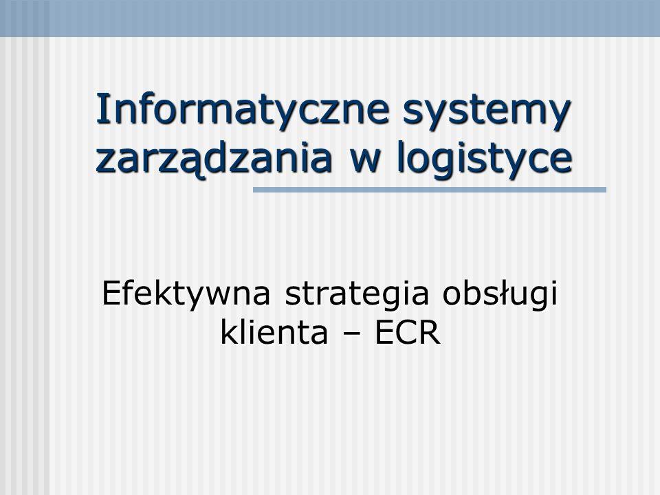 Informatyczne systemy zarządzania w logistyce Efektywna strategia obsługi klienta – ECR