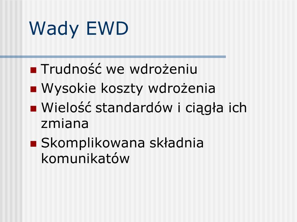 Rola EWD Automatyzacja przepływu dokumentów (faktury, zamówienia) Łatwy dostęp do analiz i raportów Wykorzystanie danych zawartych na kodach kreskowych (gospodarka zapasami, dane o transporcie i inne)