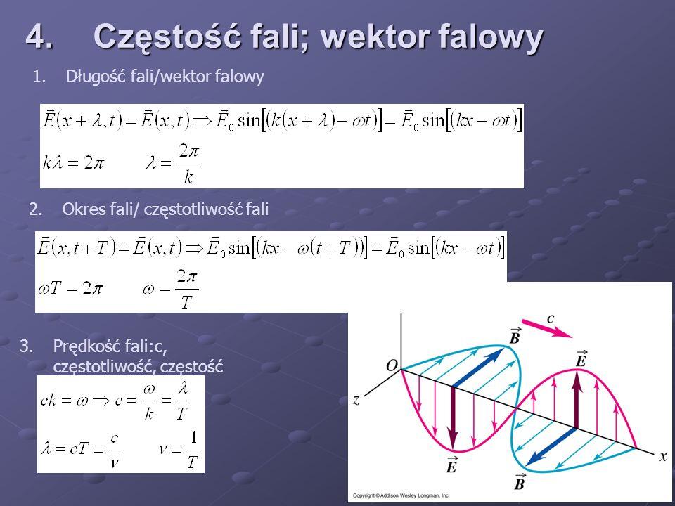 4.Częstość fali; wektor falowy 1.Długość fali/wektor falowy 2.Okres fali/ częstotliwość fali 3.Prędkość fali:c, częstotliwość, częstość