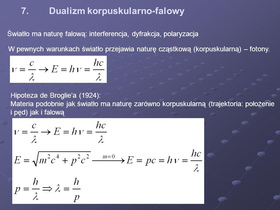 7.Dualizm korpuskularno-falowy Światło ma naturę falową: interferencja, dyfrakcja, polaryzacja W pewnych warunkach światło przejawia naturę cząstkową