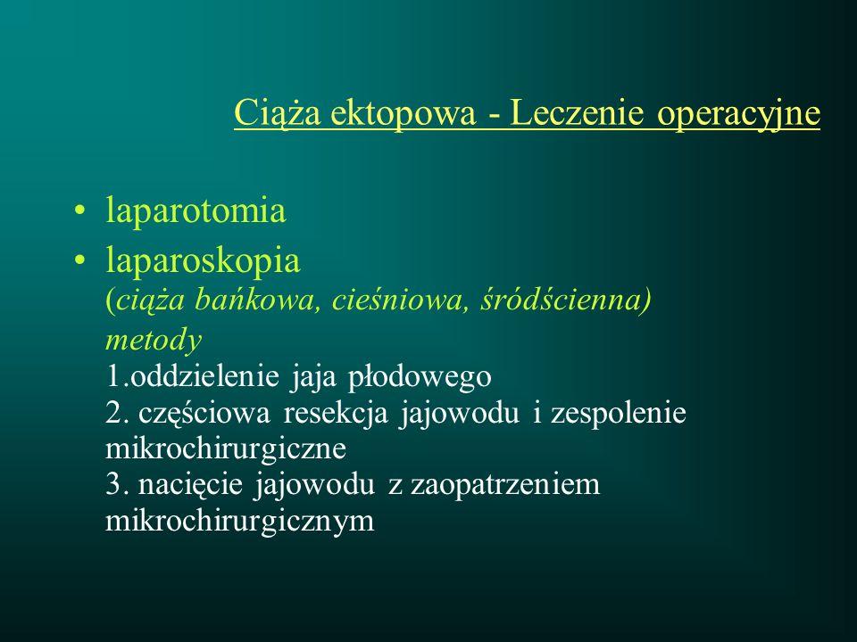 Ciąża ektopowa - Leczenie operacyjne laparotomia laparoskopia (ciąża bańkowa, cieśniowa, śródścienna) metody 1.oddzielenie jaja płodowego 2. częściowa