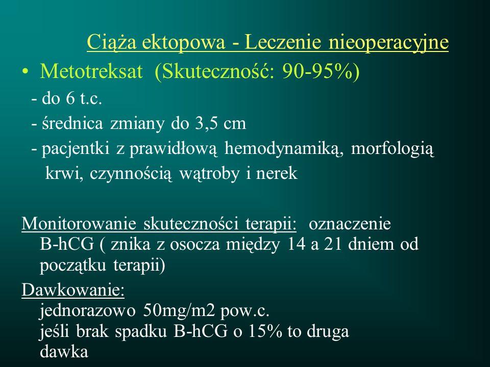 Ciąża ektopowa - Leczenie nieoperacyjne Metotreksat (Skuteczność: 90-95%) - do 6 t.c. - średnica zmiany do 3,5 cm - pacjentki z prawidłową hemodynamik