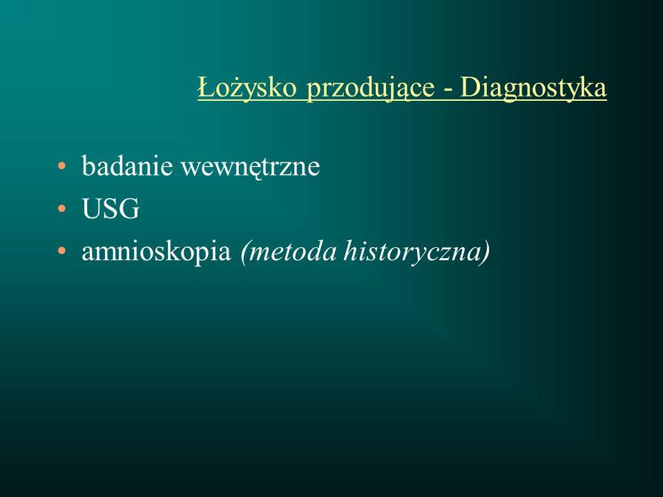 Łożysko przodujące - Diagnostyka badanie wewnętrzne USG amnioskopia (metoda historyczna)