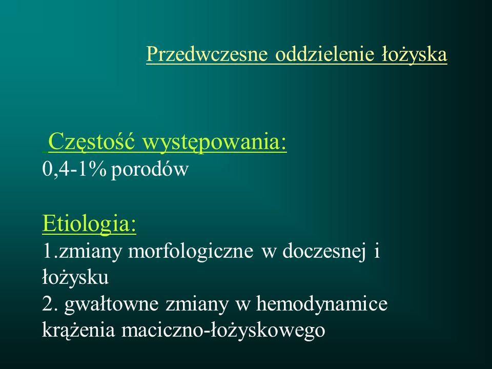 Przedwczesne oddzielenie łożyska Częstość występowania: 0,4-1% porodów Etiologia: 1.zmiany morfologiczne w doczesnej i łożysku 2. gwałtowne zmiany w h