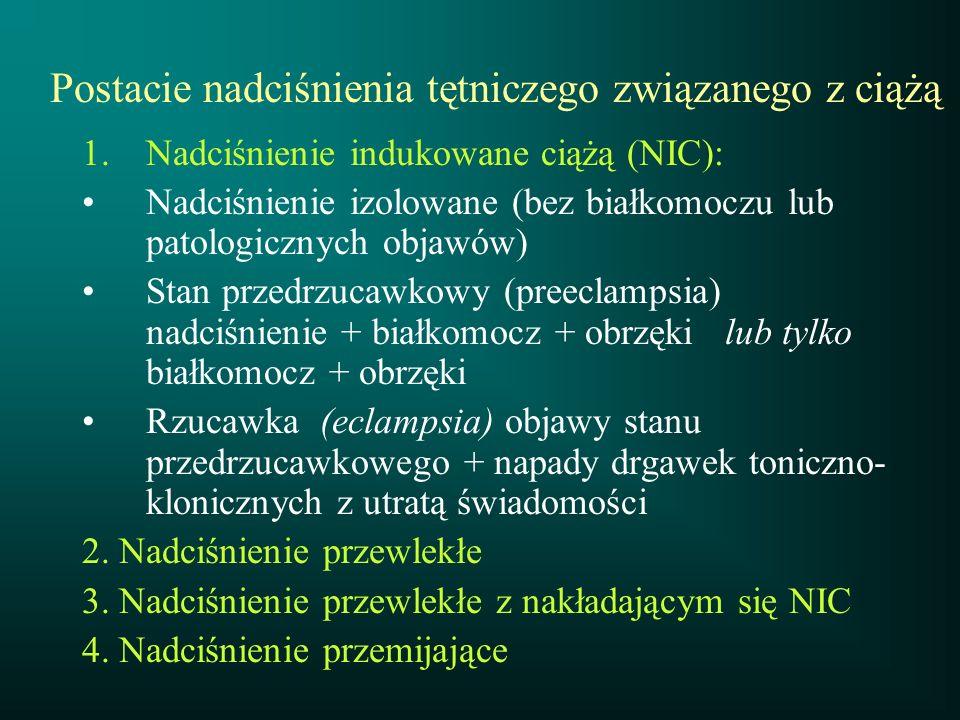1.Nadciśnienie indukowane ciążą (NIC): Nadciśnienie izolowane (bez białkomoczu lub patologicznych objawów) Stan przedrzucawkowy (preeclampsia) nadciśn