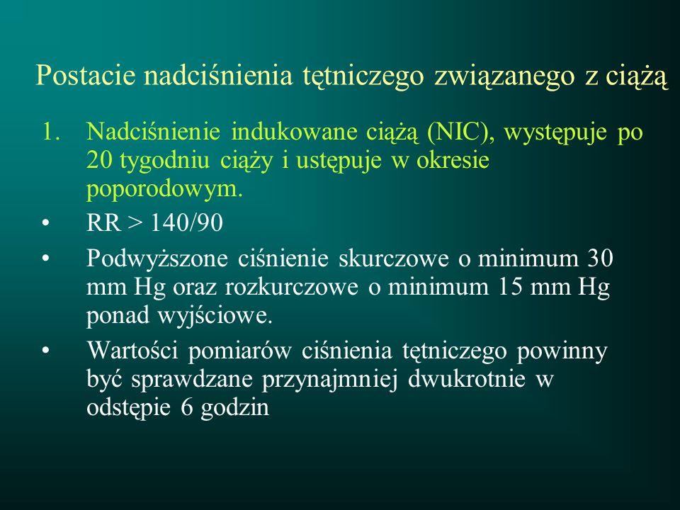 Postacie nadciśnienia tętniczego związanego z ciążą 1.Nadciśnienie indukowane ciążą (NIC), występuje po 20 tygodniu ciąży i ustępuje w okresie poporod