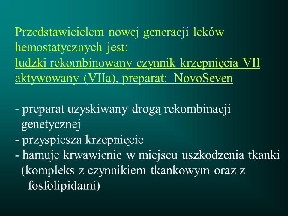 Przedstawicielem nowej generacji leków hemostatycznych jest: ludzki rekombinowany czynnik krzepnięcia VII aktywowany (VIIa), preparat: NovoSeven - pre