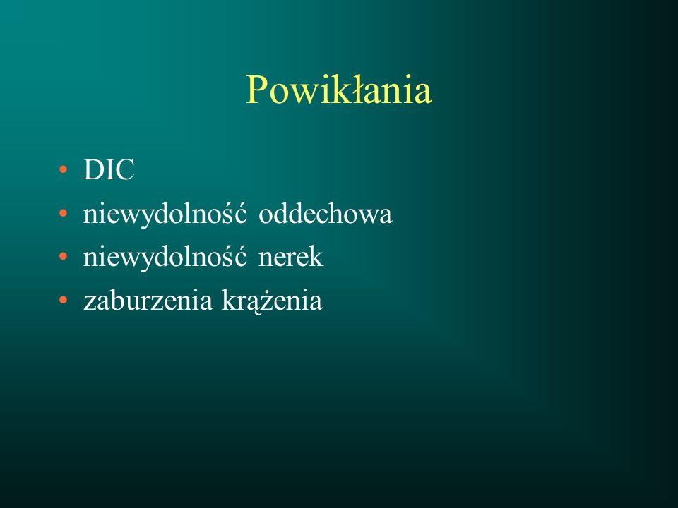 Powikłania DIC niewydolność oddechowa niewydolność nerek zaburzenia krążenia