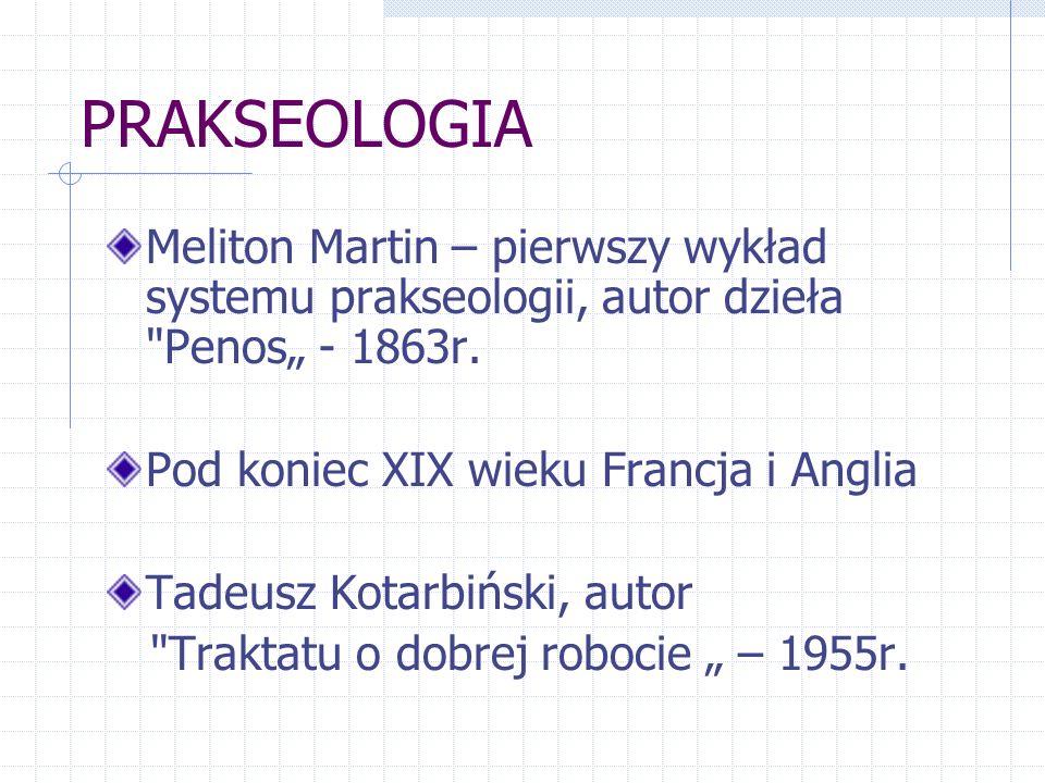 PRAKSEOLOGIA Meliton Martin – pierwszy wykład systemu prakseologii, autor dzieła