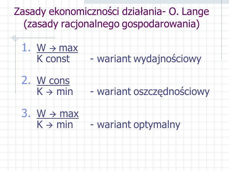 Zasady ekonomiczności działania- O. Lange (zasady racjonalnego gospodarowania) 1. W max K const- wariant wydajnościowy 2. W cons K min- wariant oszczę