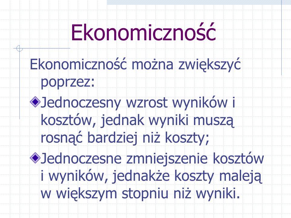 Ekonomiczność Ekonomiczność można zwiększyć poprzez: Jednoczesny wzrost wyników i kosztów, jednak wyniki muszą rosnąć bardziej niż koszty; Jednoczesne