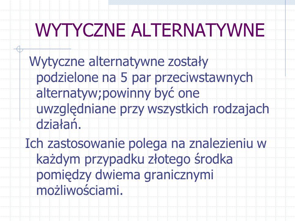 WYTYCZNE ALTERNATYWNE Wytyczne alternatywne zostały podzielone na 5 par przeciwstawnych alternatyw;powinny być one uwzględniane przy wszystkich rodzaj