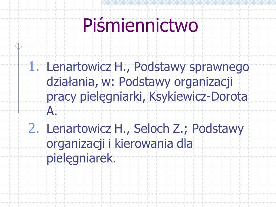 Piśmiennictwo 1. Lenartowicz H., Podstawy sprawnego działania, w: Podstawy organizacji pracy pielęgniarki, Ksykiewicz-Dorota A. 2. Lenartowicz H., Sel